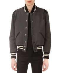 Saint Laurent - Gray Teddy Varsity Jacket for Men - Lyst