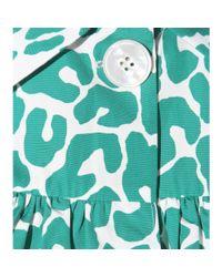 Miu Miu - Green Leopard-print Cotton Blouse - Lyst