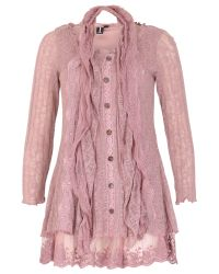 Izabel London Pink Lace Button Up Top