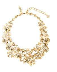 Oscar de la Renta | Metallic Golden Wavy Leaf Necklace | Lyst