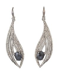 Bavna - Sterling Silver Earrings With Black Spinel & Pave Diamonds - Lyst