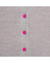 Paul Smith - Pink Women'S Grey Merino Wool Cardigan With Striped Back Panel - Lyst