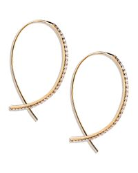 Lana Jewelry | Metallic Fatale Small Upside Down Hoops With Diamonds | Lyst