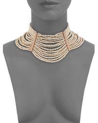 Brunello Cucinelli - Metallic River Stone, Silver & Leather Choker Necklace - Lyst
