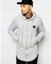 Criminal Damage | Gray Longline Hoodie In Rib for Men | Lyst