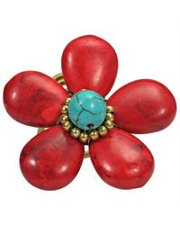 Aeravida | 40mm Handmade Red Coral Flower Brass Wire Wrap Ring | Lyst