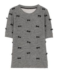 J.Crew - Gray Bow Embellished Cotton Blend Sweatshirt - Lyst