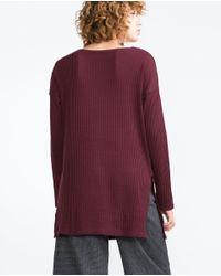 Zara   Purple Textured Top   Lyst