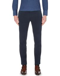 Brunello Cucinelli - Blue Slim-fit Tapered Stretch-cotton Trousers for Men - Lyst