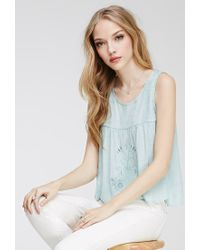 Forever 21 | Green Tulip Back Embroidered Top | Lyst