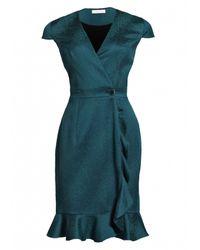 Matthew Williamson | Blue Animal Jacquard Ruffle Wrap Dress | Lyst