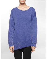 Calvin Klein | Blue White Label Performance Asymmetrical High Low Long Sleeve Tunic | Lyst