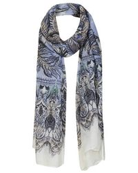 TOPSHOP - Purple Feather Border Scarf - Lyst
