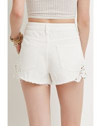 Forever 21 | Natural Crochet-paneled Denim Shorts | Lyst
