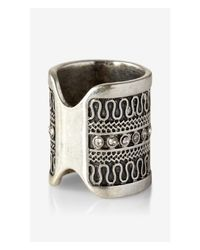 Express - Metallic Etched Pave Ring - Lyst