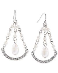 Carolee | Metallic Silver-tone Freshwater Pearl Gypsy Hoop Drop Earrings | Lyst