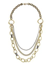 Lydell NYC | Metallic Brass Mixed-chain Necklace | Lyst