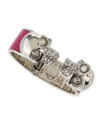 Alexander McQueen - Pink Leather Double Skull Cuff Bracelet for Men - Lyst