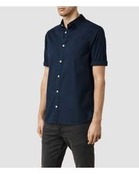AllSaints - Blue Redondo Half Sleeved Shirt for Men - Lyst