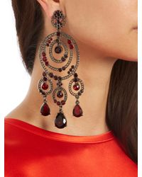 Oscar de la Renta - Red Loop Crystal-embellished Earrings - Lyst