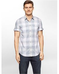 Calvin Klein | Gray Jeans Slim Fit Washed Plaid Short Sleeve Shirt for Men | Lyst