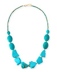 Panacea | Blue Long Turquoise Stone Necklace | Lyst