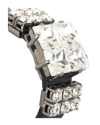 Miu Miu - Black Studded Leather and Swarovski Crystal Bracelet - Lyst