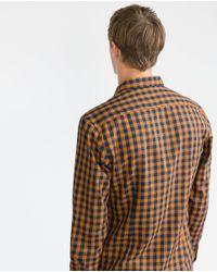 Zara | Yellow Gingham Check Shirt for Men | Lyst