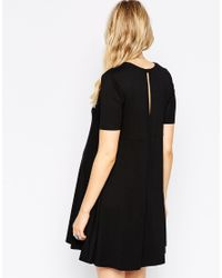 ASOS - Black Swing Dress With Seam Detail And Short Sleeves - Lyst