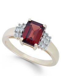 Macy's | Metallic Garnet (2-3/8 Ct. T.w.) And Diamond (1/5 Ct. T.w.) Ring In 14k Gold | Lyst