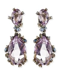 Alexis Bittar Fine | Purple Cool Heather Marquise Large 2-Stone Amethyst Clip Earrings | Lyst