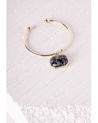Missguided | Metallic Marble Pendant Cuff Gold | Lyst