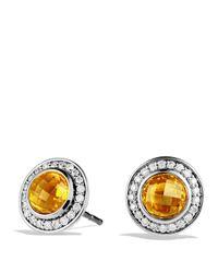 David Yurman - Yellow Cerise Mini Earrings With Citrine And Diamonds - Lyst