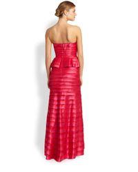 BCBGMAXAZRIA - Rose Strapless Tiered Gown - Lyst