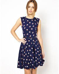 Oasis - Blue Clover Print Skater Dress - Lyst