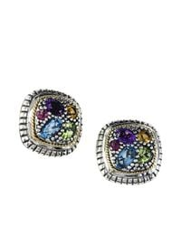 Effy | Multicolor Semi-precious, Multi-stone Sterling Silver And 18k Yellow Gold Stud Earrings | Lyst
