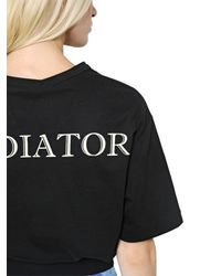 Fausto Puglisi - Black Oversized Gladiator Print Cotton T-shirt - Lyst