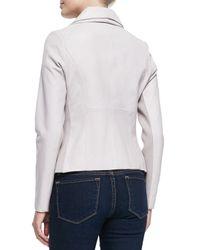 Bagatelle - Purple Orchid Leather/jersey Jacket - Lyst