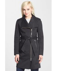 Mackage - Black Leather Trim Asymmetrical Zip Trench Coat - Lyst