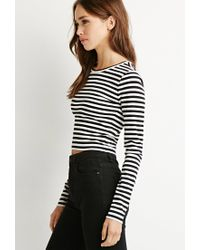 Forever 21 | Black Striped Crop Top | Lyst