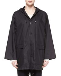 Eskandar - Black Hooded Button Raincoat - Lyst