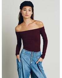 Free People | Purple Off The Shoulder Solid Top | Lyst