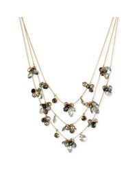 Kenneth Cole - Metallic Goldtone Faceted Bead Cluster Illusion Necklace - Lyst