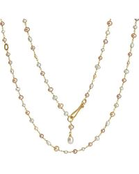 Annoushka | White Seed Pearl And 18ct Yellow-gold Chain Necklace - For Women | Lyst