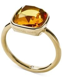 Michael Kors - Metallic Gold-Tone Stainess Steel Citrine Stone Ring - Lyst