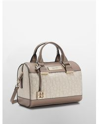 Calvin Klein | Natural White Label Candice Lurex Logo Jacquard Sleek Barrel Satchel | Lyst