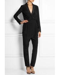 Gucci - Black Satin-trimmed Silk-crepe Jumpsuit - Lyst