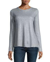 Neiman Marcus - Cotton/cashmere Double-face Long Sleeve Metallic Crewneck Top - Lyst
