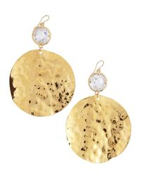 Devon Leigh | Metallic Hammered Gold & Cubic Zirconia Drop Earrings | Lyst