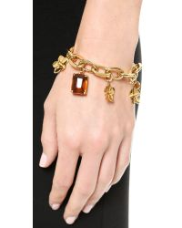 Tory Burch - Metallic Cecily Charm Bracelet - Honey/Antiqued Gold - Lyst